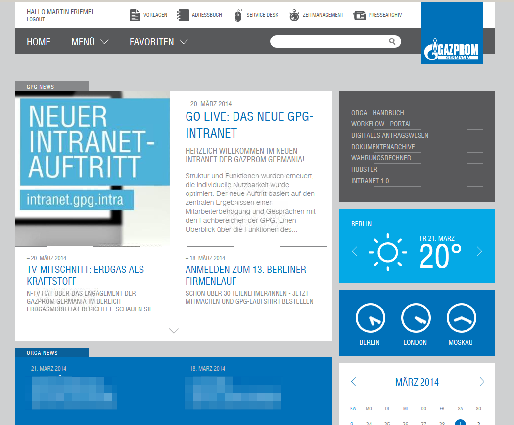 GAZPROM Germania Intranet